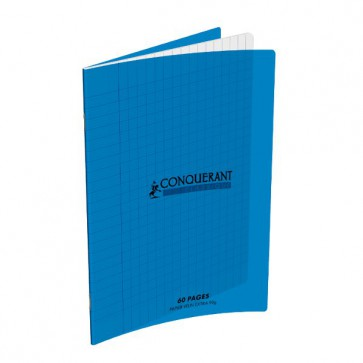 Cahier 17x22 en 60 pages grands carreaux Seyès, couverture Polypropylène bleu