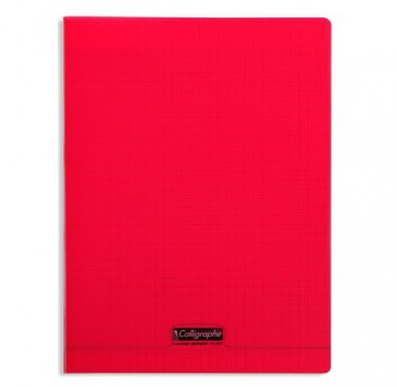 Liste scolaire : cahier 24x32 cm 140 pages en 90g. couverture Polypro rouge REF. 18293 Clairefontaine