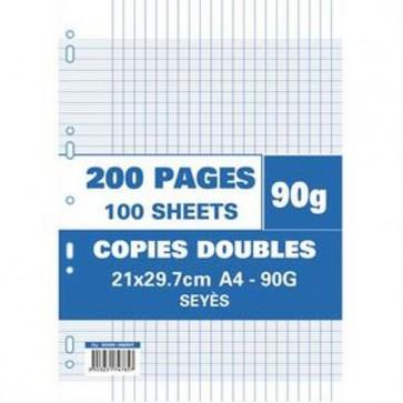 Sachet de 200 pages copies doubles A4 grands carreaux 90 g.