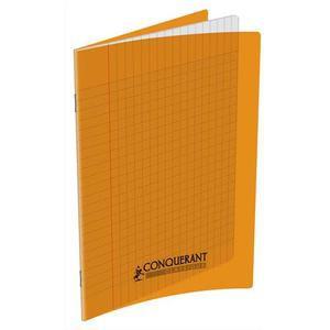 CONQUERANT Cahier piqûre 17x22cm 48 pages 90g séyès grands carreaux. Couverture polypropylène ORANGE