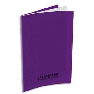 CONQUERANT CLASSIQUE Cahier piqûre 17x22 48 pages grands carreaux 90g. Couverture polypro violet