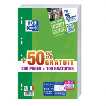 300 pages dont 100 offertes. Copies doubles  21x29,7 A4  (A4) grands carreaux 90g.Oxford