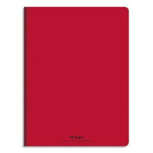 CONQUERANT Cahier piqûre 17x22cm 48 pages 90g séyès grands carreaux. Couverture polypropylène rouge