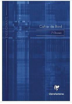 Cahier de bord, 44 pages : suivi de 7 classes A4 tête paresseuse. Référence Clairefontaine : 3119C