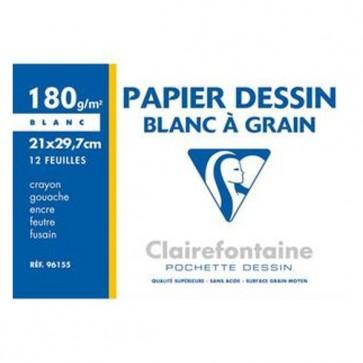 Pochette de 12 feuilles papier dessin blanc A4 180g Ref. Clairefontaine 96155C
