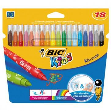 18 Feutres KID couleur Bic pointe moyenne
