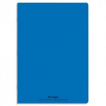 CONQUERANT Cahier piqûre 17x22cm 48 pages 90g séyès grands carreaux. Couverture polypropylène bleu