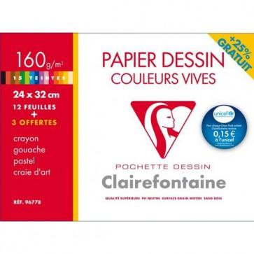 Pochette de 12 feuilles papier dessin couleur teintes vives 160g 24x32 Ref-96778 Clairefontaine