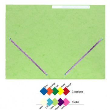 Chemises carton lustré VERT en A4+,  soit 24x32cm à 3 rabats à élastique, à la couleur et à l'unité.