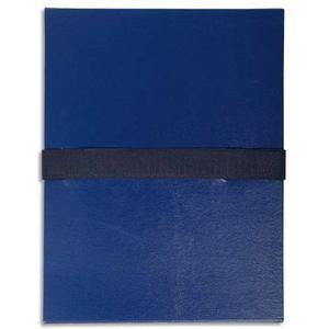 EXACOMPTA Chemise extensible  fermeture par sangle velcro. Coloris bleu foncé 626E