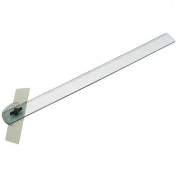 règle T plastique 60 cm pivotante en plexi. 600mm graduée en mm. et en degrés.