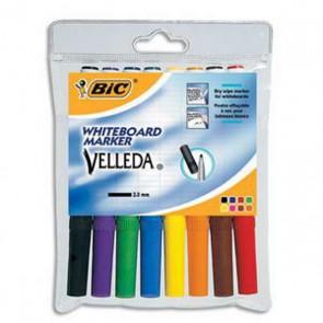 Feutres effaçables 8 couleurs VELLEDA BIC Pochette de 8 feutres pointe ogive effaçables orange, marron, jaune, vert, rouge, bleu, noir, et violet encre à base d'alcool,pour ardoises Velleda