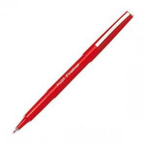 Stylo feutre pointe fine baguée métal encre rouge corps plastique couleur FINELINER