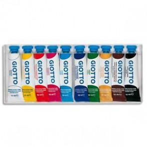 Boite rigide packebordable de 10 tubes 10ml de gouache, coloris assortis