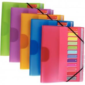 Trieur en polypropylène Color Fresh 12 compartiments, 3 rabats + élastiques