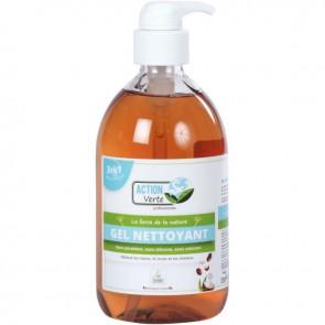 Flacon pompe 500ml savon gel nettoyant main, corps, cheveux senteur coco