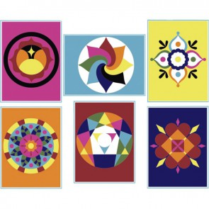 Lot de 6 cartes sable mandala  19.8 x 16 cm