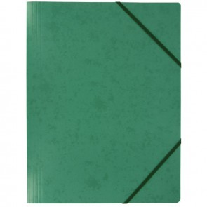 Chemise sans rabat à élastiques en carte lustrée 5/10ème format 24x32 cm coloris vert
