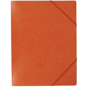 Chemise sans rabat à élastiques en carte lustrée 5/10ème format 24x32 cm coloris orange