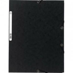 Chemise 3 rabats/ élastique , carte lustrée 5/10e, 400gr. Format 24x32cm. Coloris noir