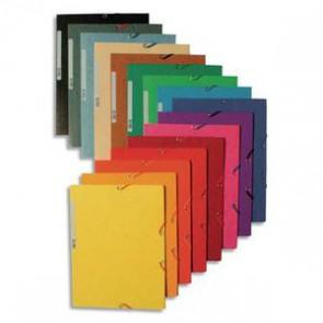 EXACOMPTA Chemise 3 rabats et élastique , en carte lustrée 5/10e, 400gr. Format 24x32cm. Coloris assortis
