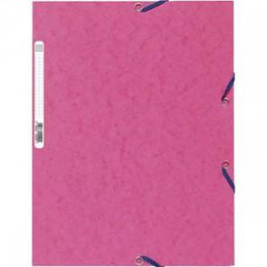 EXACOMPTA Chemise 3 rabats et élastique , en carte lustrée 5/10e, 400gr. Format 24x32cm. Coloris fuschia