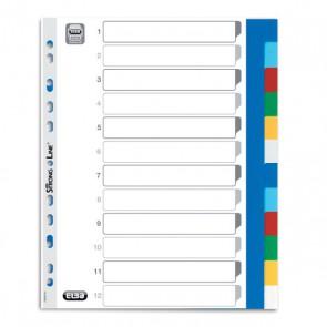 Intercalaire plastique 12 positions  format  A4+