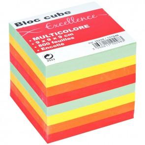 Bloc cube multicolore d'environ 800 feuilles encollées, dimensions : 9 x 9 x 9 cm