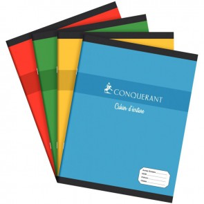 Cahier d'apprentissage piqûre 32 pages, format 17 x 22 cm, réglure maternelle double ligne 2 mm avec interligne, verticale et marge: DL2IV