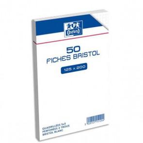 50 fiches bristol A4, 125 x 200 mm perforées, blanches à petits carreaux 5x5 en 205 g. En sachet Ref OXFORD OFFICE  : 400028420