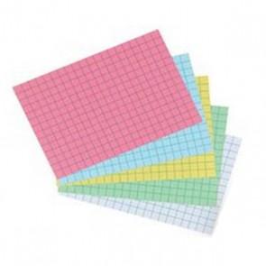 50 fiches bristol  125 x 200 mm perforées, couleurs assorties bleu, jaune, vert, rose à petits carreaux 5 x 5  205 g. qualité Oxford