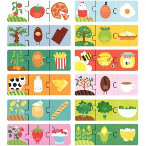 Boite de 12 puzzles 3 pièces, l'origine des aliments