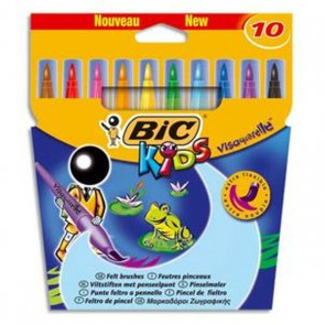 10 Feutres Pinceau 10 pointes le Visaquarelle de Bic
