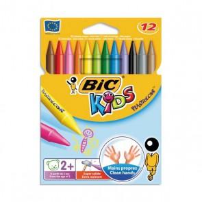 Pochette 12 craies PLASTIDECOR plastique de coloriage diamètre 8mm x longueur 12cm de BIC