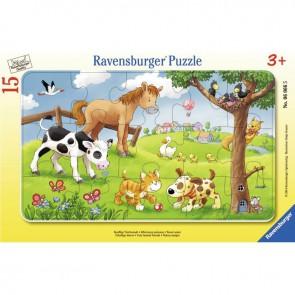 Puzzle à cadre 15 pièces, les animaux de la campagne