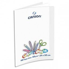 Cahier de dessin C9 120g, 24x32, 48 pages unies, couverture polypro incolore, Ref OXFORD 400002788