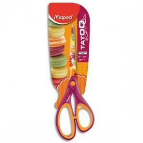 MAPED TATOO Blister ciseaux droitier ou gaucher 21cm pour enfant lame inox et décorée. D