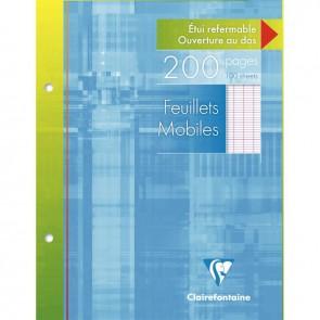 Étui de 100 feuillets mobiles (200 pages) format 17x22 cm séyès 90g blanc