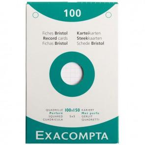 Etui de 100 fiches bristol perforées carte forte 210 g blanc quadrillé 5x5 format 10 x 15 cm