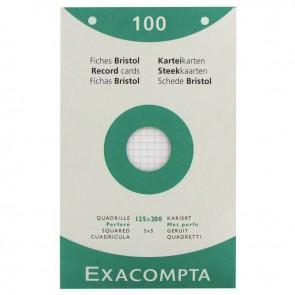 Boîte de 100 fiches bristol perforées carte forte 210 g blanc quadrillé 5x5 format 12,5 x 20 cm