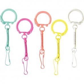 Sachet de 10 porte-clés coloris pop avec mousqueton