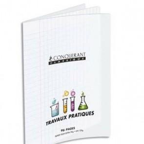 Liste scolaire : cahier Travaux Pratiques piqûre 17x22 cm en 32 pages Séyes + 32 p. unies. Couverture plastique PP incolore