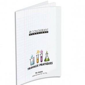 Cahier Travaux Pratique piqûre A4 48 pages seyès+48 pages unies. Couvertures PP incolore