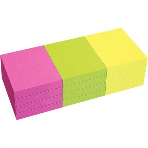 Lot de 12 blocs de notes repositionnables de 80 feuilles 40 x 50 mm couleurs vives assorties