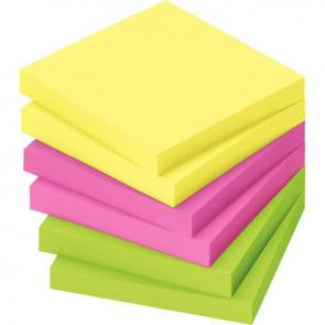 Lot de 12 blocs de notes repositionnables de 80 feuilles 75 x 75 mm couleurs vives assorties
