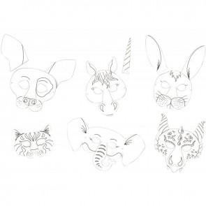 Lot de 6 masques en carton forme animaux