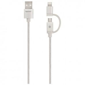 Cordon tressé en nylon 2 en 1 USB 2.0 Male/Mâle USB A vers Lightning ou Micro USB B longueur 1,2 mètre silver