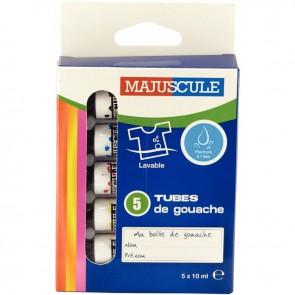 Boîte de 5 tubes 10ml de gouache en pâte MAJUSCULE, couleurs primaires assorties