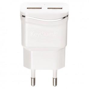 Chargeur secteur universel 2 ports USB 2,1A + 2,1A blanc