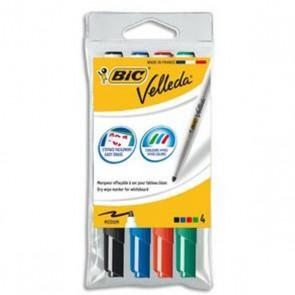 4 feutres effaçables en pochette de 4couleurs en  pointe moyenne de Velleda : vert, rouge, bleu, noire encre à base d'alcool, s'efface facilement , même après plusieurs jours